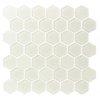 Eleganza Warm White Hexagon Glass Mosaic Tile GL3515