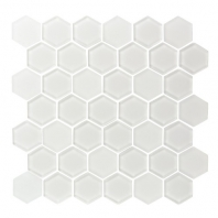 Eleganza Ice White Hexagon Glass Mosaic Tile GL3514