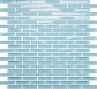 Eleganza Crystal Blue Staggered Brick Glass Mosaic Tile GLV3802