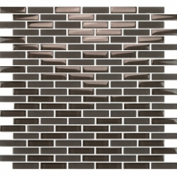 Eleganza Midnight Gray Staggered Brick Glass Mosaic Tile GLV3805
