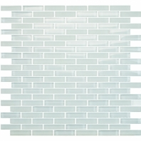 Eleganza Snow White Staggered Brick Glass Mosaic Tile GLV3801