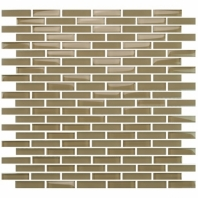 Eleganza Warm Beige Staggered Brick Glass Mosaic Tile GLV3803
