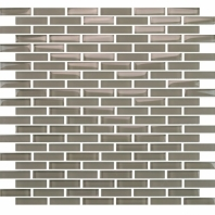 Eleganza Winter Taupe Staggered Brick Glass Mosaic Tile GLV3804