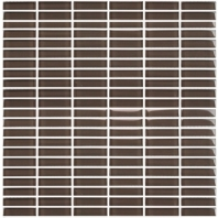 Eleganza Midnight Gray Straight Brick Glass Mosaic Tile GLV3905