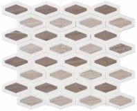 Garden Party Series Espresso Tan Long Hexagon Mosaic Tile GDN-131