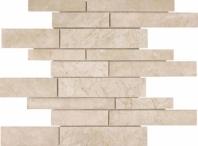 Anatolia Uptown Stone Polished Random Strip Allure Crema Interlocking Mosaic AC76-361