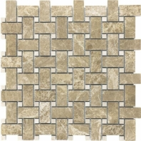 Anatolia Uptown Stone Polished Emperador Light Basketweave Tile ACNS147
