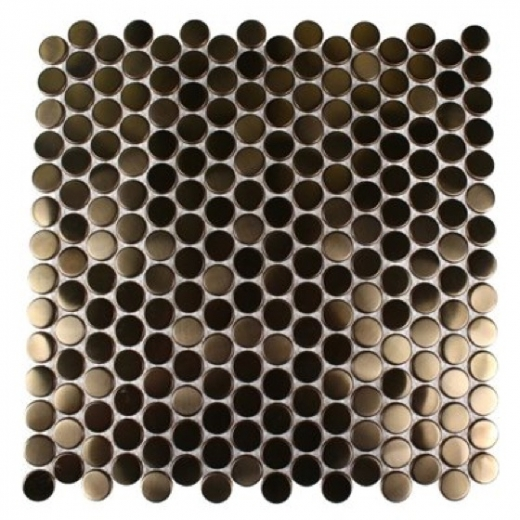 Brush Metal Copper 3/4 Penny Round Metal Tile by Soho Studio METCRCLCPR