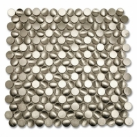 Brush Metal Stainless Concavo Circles Metal Tile by Soho Studio METSLVCONCV
