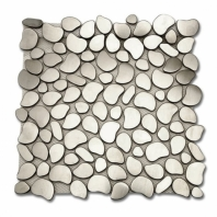 Brush Metal Stainless Silver Brush Cobblestone Metal Tile by Soho Studio METSLVCBL