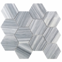 "Milan Gray 4"" Honed Hexagon Marble Tile by Soho Studio MILANGRY4INHEXHND"