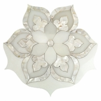 Juliet White Thasso Mother Of Pearl Floral Mosaic Tile by Soho Studio MJJULIET