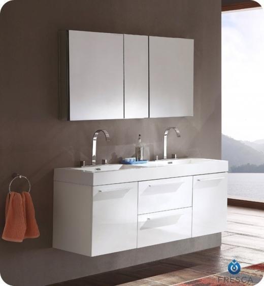 Fresca Opulento White Modern Double Sink Bathroom Vanity w/ Medicine Cabinet