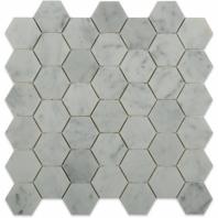 """White Carrara 2"""" Hexagon Marble Tile by Soho Studio HEX2INWTCR"""