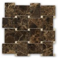 Wide Weave Dark Emperador Basketweave Tile by Soho Studio WDWVDECR