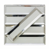 Reflection White Glam Beveled Mirror Subway Tile by Soho Studio REFLCWHTGLAM