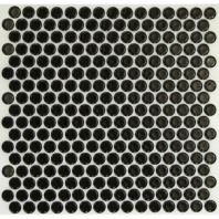 Simple Penny Rounds Polished Black Circle Tile by Soho Studio SMPPNYSLDPLBLK