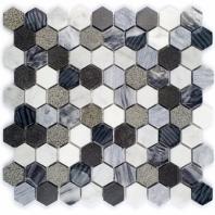 Surface Tech Hex Black Canyon Hexagon Tile by Soho Studio SRFHEXBLKCAN