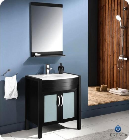 "Fresca Infinito 30"" Modern Bathroom Vanity w/ Mirror - Espresso"