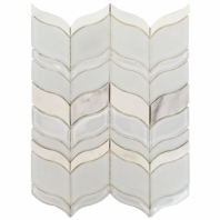 Mosaic Jet Acer Winter White Chevron Tile by Soho Studio MJACERWINTER