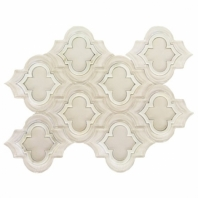 Mosaic Jet Emblem White w/ Asian Statuary Arabesque Tile by Soho Studio MJEMBPSUPASTFSP