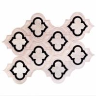 Mosaic Jet Emblem Super White w/ Black Line Arabesque Tile by Soho Studio MJEMBPSUPBLKAST