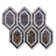 New Era Dark Emperador Long Hexagon Mosaic Tile by Soho Studio NERADKEMPCRM
