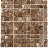 Pearl Brown Flat Squares Pearl Backsplash by Soho Studio PRLSQBRWNFLT