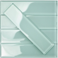 Soho Studio Crystal Series Ice Mint 2x8 Polished Subway Glass Backsplash