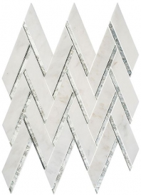 Peak Harbor Series Ornate Crest PH481 Mirror Herringbone Mosaic Tile