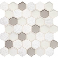 Daltile IB01- Idyllic Blends Tranquil Snow Hexagon Mosaic Tile