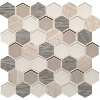Daltile IB04- Idyllic Blends Serene Storm Hexagon Mosaic Tile