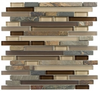 Tile Glass & Slate Rustic Taupe GS02