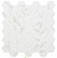 Antiquities Series Egyptian Ivory ANQ52 Marble Look Hexagon Mosaic