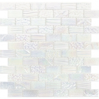 Soho Studio Aqueous Iridescent White 1x2 Bricks Interlocking Tile- AQUEBRKIRIWHT1X2