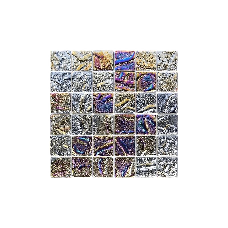 Glass tile mosaic Aqueous Series Iridescent Black 1x2