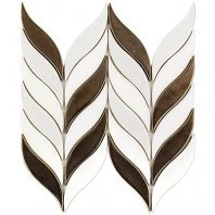 Soho Studio Baroque Floret Copper Blanco and White Jade Chevron Tile- BRQFLRTCPPRWTJDE