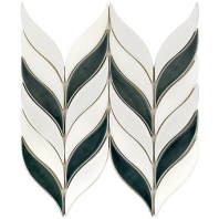 Soho Studio Baroque Floret Capri Blanco and White Jade Chevron Tile- BRQFLRTCPRIWTJDE