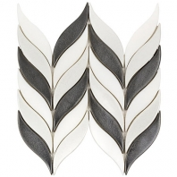 Soho Studio Baroque Floret Gun Metal and White Jade Chevron Tile- BRQFLRTGMTLWTJDE