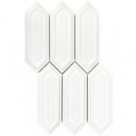 Soho Studio Baroque Sequin Blanco Elongated Hexagon Hexagon Tile- BRQSEQNBLNC