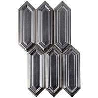 Soho Studio Baroque Sequin Gun Metal Elongated Hexagon Hexagon Tile- BRQSEQNGNMTL