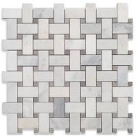 Soho Studio Basketweave Asian Statuary w/ Silver Dot Honed Basketweave Tile- BSKSLVRDTASNHON