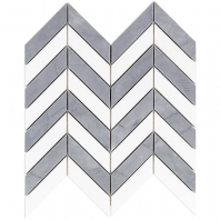 Soho Studio Falcon Burlington Gray and White Thassos Chevron Tile- FLCNBURLGRYTHS
