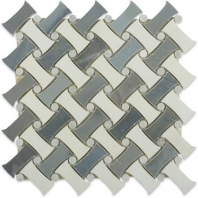 Soho Studio Fancy Weave Moonstone and Thassos w/ Carrera Dot Basketweave Tile- FNCWMNTHS