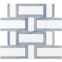 Soho Studio Interlace White Thassos and Blue Macauba Basketweave Tile- INTLACTHSBLMC