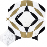 Soho Studio Kaleidoscope Magnifique in Calacatta, Nero and Brass Tile- KALMAGCALNRBRS