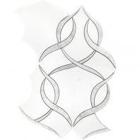 Soho Studio MJ Ophelia White Thassos and White Carrara Waterjet Tile- MJOPHELIA
