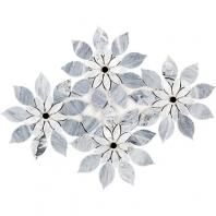 Soho Studio MJ Rain Flower-Bardiglio Nouvelato, White Carrara w/ Black Jade Dot Floral Tile- MJRNFLRBDWTCBJD