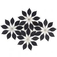 Soho Studio MJ Rain Flower-Black Jade, Calacatta and Calacatta Dot Floral Tile- MJRNFLRBKJDCAL