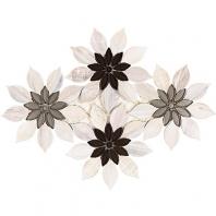 Soho Studio MJ Rain Flower-Wooden Beige, Taupe and Beige Glass Floral Tile- MJRNFLRWDBCRYBG